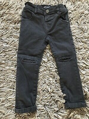 Next Baby Boys Black Dark Grey Denim Skinny Legs Jeans 12-18 Adjustable Waist