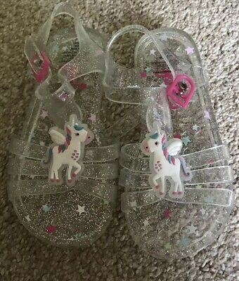 Bluezoo Girls Silver Sparkle Clear Unicorn Jelly Sandals Size 7 Worn Once