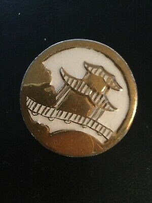 ORIGINAL CHINESE COLORED ENAMEL PAGODA PIN MEDAL Gold And White