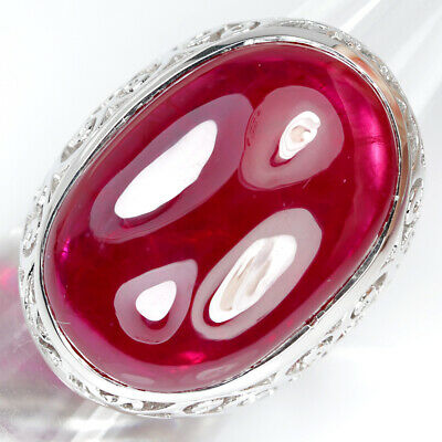 28 X 20 mm. PIGEON BLOOD RED RUBY 46.85 ct. STERLING 925 SILVER RING SZ 10.0