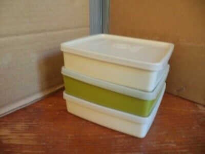 Tupperware Square rounds small containers boxes X3