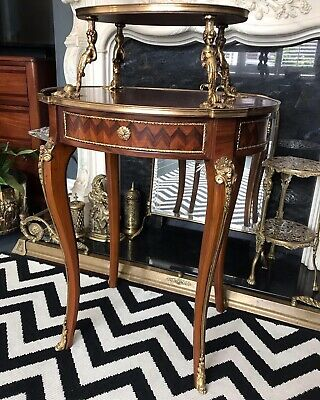 French Two Tiered Display Table With Brass Ormolu Cherub Mounts Mahogany Veneer