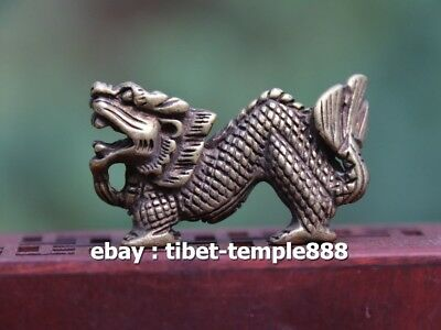 4.5 CM Chinese Bronze Counteract Evil Force Zodiac Animal Dragon Amulet Pendant