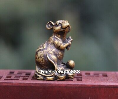 3.5 cm Pure Bronze Chinese Zodiac Wealth Fengshui Animal Mouse Rat Mice Statue