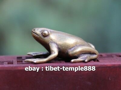 4.5 CM 100% Pure Bronze China Fengshui Animal Common Pond Frog Sculpture Statue