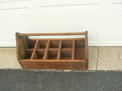 LARGE ANTIQUE Primitive Wood tool BOX Carrier with Handle & 9 Sections