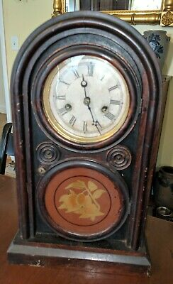 Ingraham Bristol CT Antique 8 Day Figure 8 Shelf Clock as is