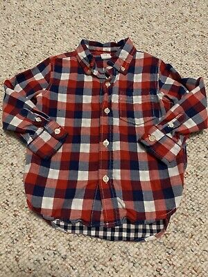 Baby Gap Red White Blue Plaid Long Sleeve Button Up Shirt 3T 3 Years