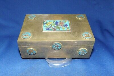 Antique Chinese Brass Box with Cloisonne Medallions Signed Impressed China Only