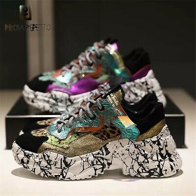 NEW WOMENS ATHLETIC Chunky Wedge Sneakers Casual Comfort