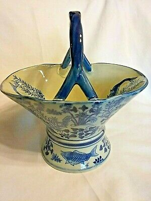 Antique Blue White Asian China Chinese Japan Japanese Porcelain Bowl With Handle