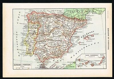 1922 Portugal, Spain, Iberian Peninsula, Vintage French Map - Larousse