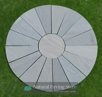 Kandla grey handcut 2.9M Hareena Naturan Indian sandstone patio paving circle