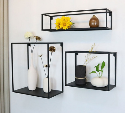 Floating Wall Mounted Support Shelves Set of 3 Square Boxe Storage Free Grouping