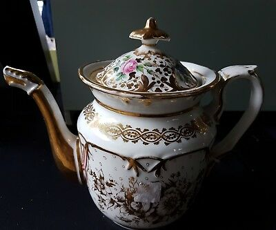 Beautiful 19thc Antique Victorian teapot  Handpainted Unmarked A/F mismatch lid
