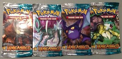 4 Sealed 2010 Pokemon HS Unleashed Booster Packs All 4 Arts
