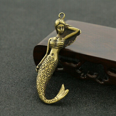 Chinese archaize brass hand carved Mermaid small statue Pendant