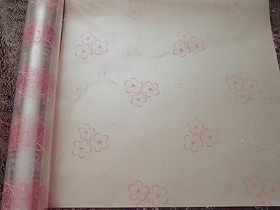 4mts Pink & White Flower Cellophane for gift wrapping & 4mts curling ribbon