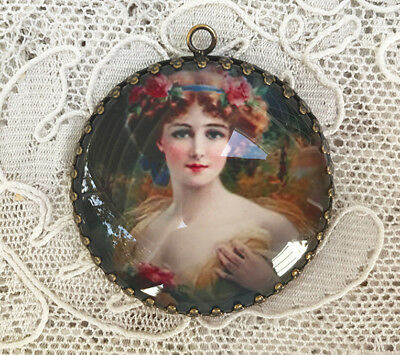 LOVELY WOMAN ~ XL ROUND 35mm GLASS DOME PENDANT Filigree VINTAGE ART Floral