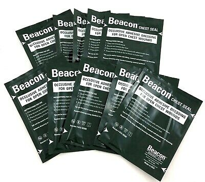 Lot of 10 Beacon Chest Seals Occlusive Adhesive Dressing Training Supplies