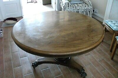 TABLE MAHOGANY PEDESTAL TABLE with LIONS CLAW FEET -  ANTIQUE VICTORIAN ROUND