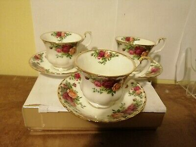 Royal Albert Old Country Roses Set of 3  Tea cups and saucers a