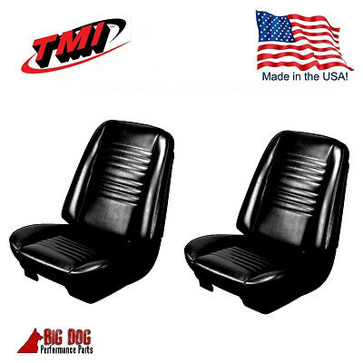 1967 Chevelle Coupe Front Buckets / Rear Seat Upholstery Black Vinyl IN STOCK!