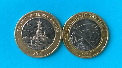 First World War Centenary 100th Anniversary £2 Coin Two Pound Set of 2 Army Navy