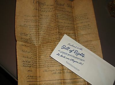 Vintage Reproduction The BILL OF RIGHTS on Genuine Aged Parchment Paper