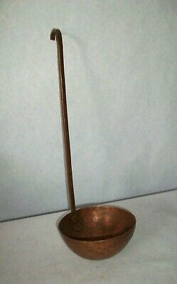 "Antique Hand Hammered Solid Copper Ladle Hand Rivets 12"" Long 4"" Scoop"