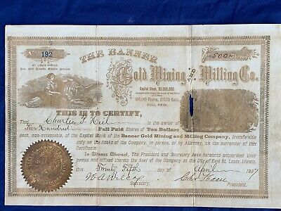 Stock Certificate BANNER GOLD MINING MILLING COMPANY 1887  - rare  -  616