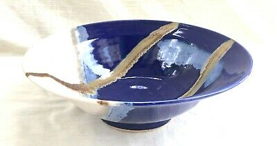 Large Vintage Hand Thrown Studio Art Pottery Bowl, Signed - Cullen