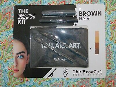 New The Brow Kit For Brown Hair By The Brow Gal Tonya Crooks W/ Cosmetic Bag
