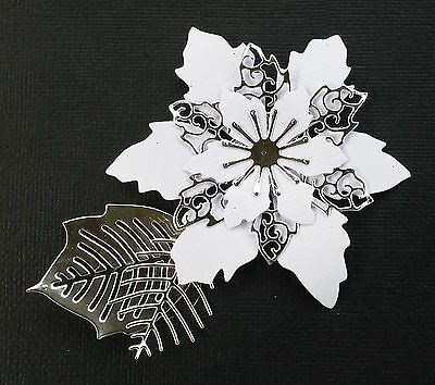 Set of 4....    White with Silver Poinsettias..  Christmas Die-Cuts