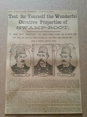 1902 Dr Kilmers Swamp Root Medicine Newspaper Ad 58th Police Precinct New York