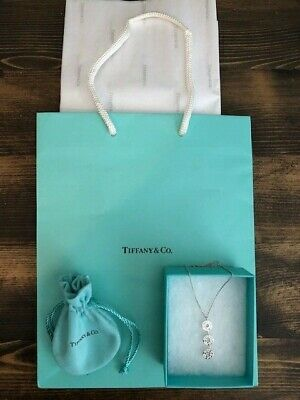 Tiffany & Co Sterling Silver Triple Drop Circle Pendant Necklace Authentic New