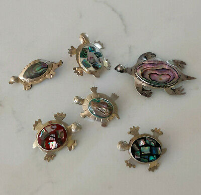 Lot 6 Vintage Mexico Silver Abalone shell TURTLE Pins Mother of Pearl 925 Brooch