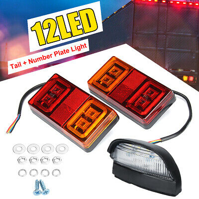 Pair MARINE TRAILER LIGHT KIT SUBMERSIBLE LED LIGHT NUMBER PLATE LIGHT BOAT