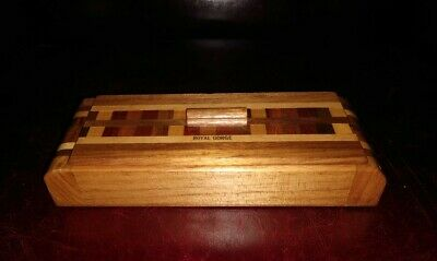 VTG 1930s Art Deco Inlaid Wooden Desk Top Pencil Box Oak Mahogany Walnut Maple