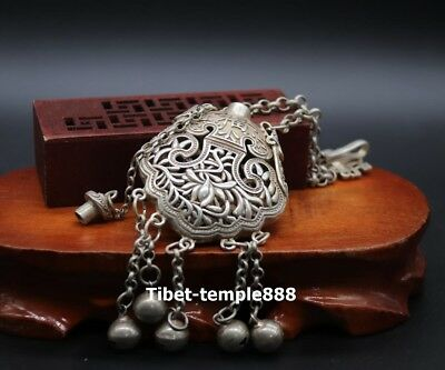21 CM China miao silver Hollowed-out bottle blessing Flower bell Amulet Pendants