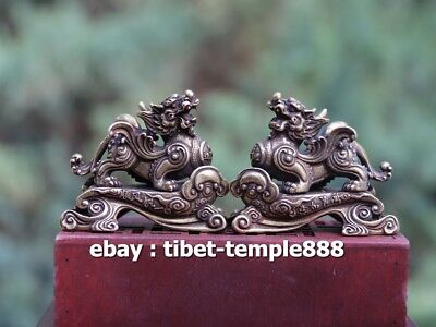 5 CM China Pure Bronze Foo Dog Lion Dragon Kylin Wealth Animal Amulet Sculpture