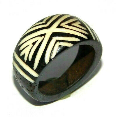 100% Natural Bone Carving Designer Handmade Fashion Jewelry Ring Size 9 R815