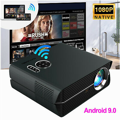 LED HD Smart Android Projector WiFi Home Cinema Bluetooth Video Movie 1080p HDMI