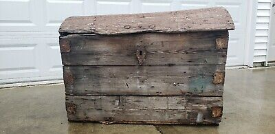 Period Norwegian (as is) Hand Painted Blue and Red Decorated Dome Top Sea Trunk
