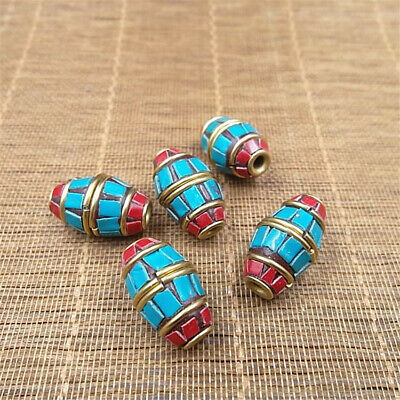 1Pcs 10x36mm Nepal Handmade Large hole copper Spacer Beads Colorful Charm