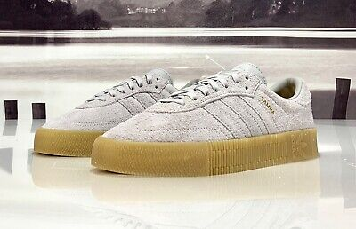 NEW ADIDAS SAMBA Rose Shoes Platform Suede Grey Gum B37860
