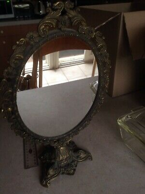 Ornate ? Brass Vintage Mirror On Stand and With Swivel Action Made In Italy