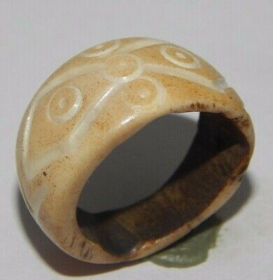 100% Natural Bone Carving Designer Handmade Fashion Jewelry Ring Size 9 R583