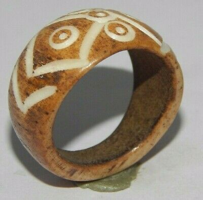 100% Natural Bone Carving Designer Handmade Fashion Jewelry Ring Size 9 R856