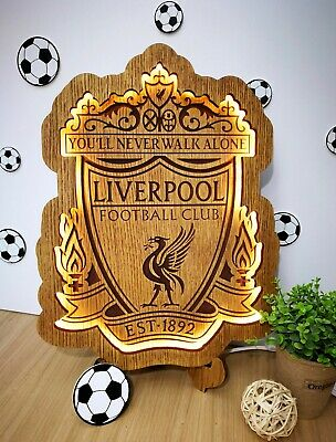 Liverpool Football Club Logo Wooden Lamp FC wood gift